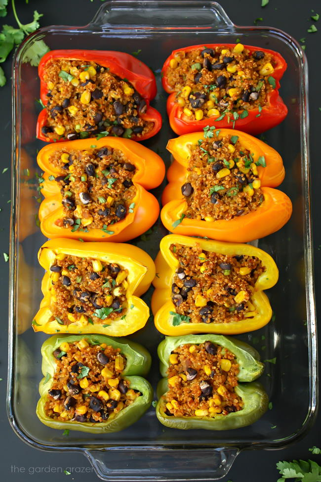 Vegan Mexican Quinoa Stuffed Peppers in a pan