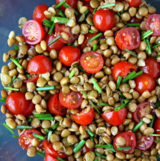 Lentil tomato salad in a bowl with chives