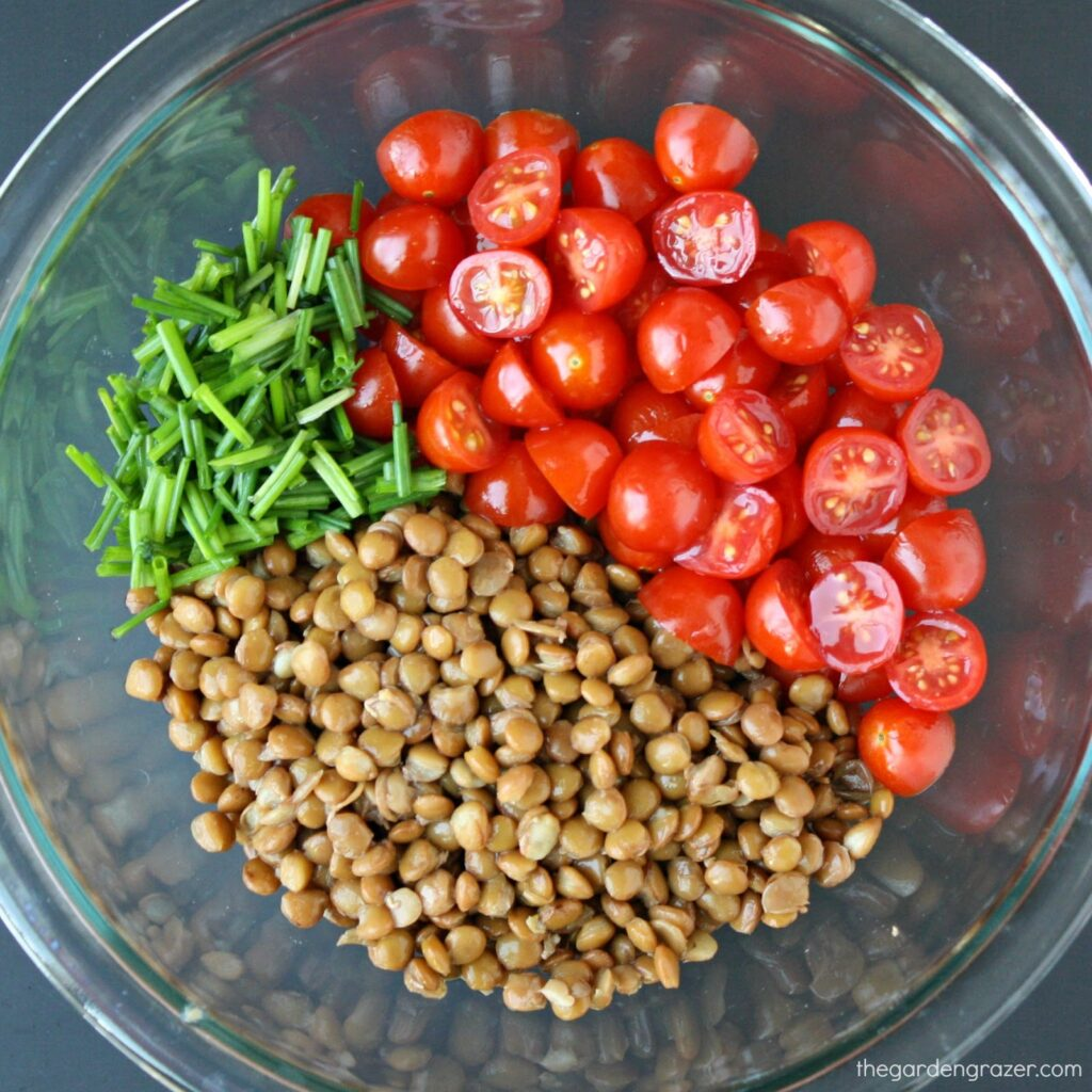 Ingredients for tomato lentil salad in a bowl