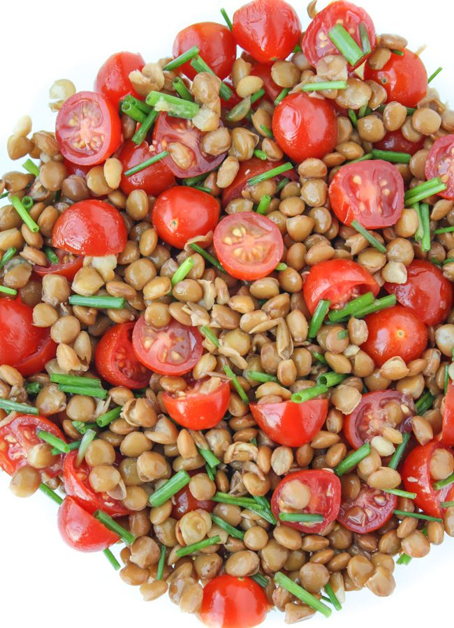 Lentil tomato salad in a bowl