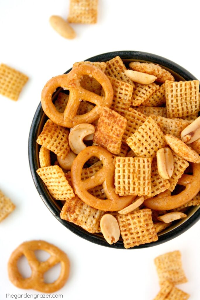 Vegan chex mix in a bowl