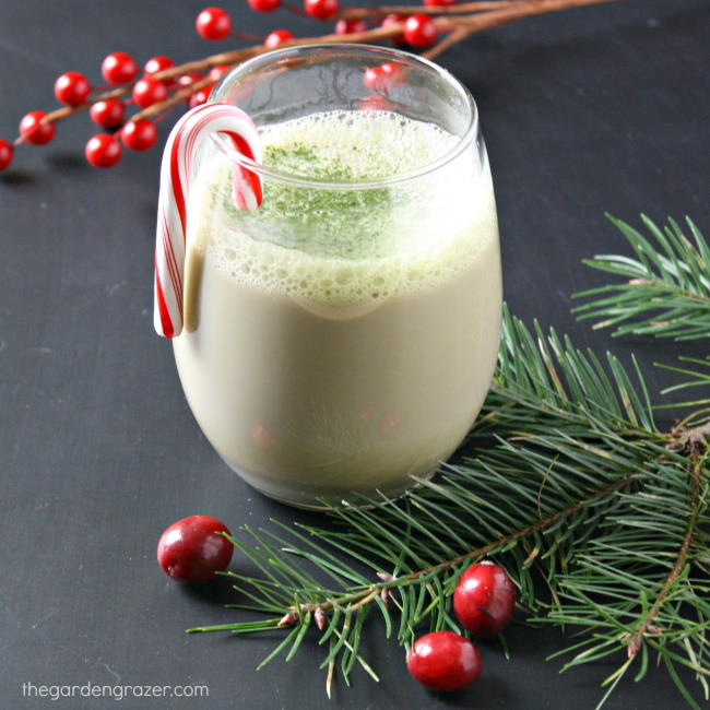 Peppermint matcha latte in a glass