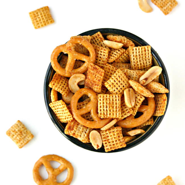 Small bowl of chex mix