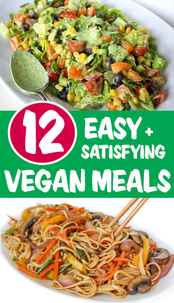 photo collage of easy vegan meals