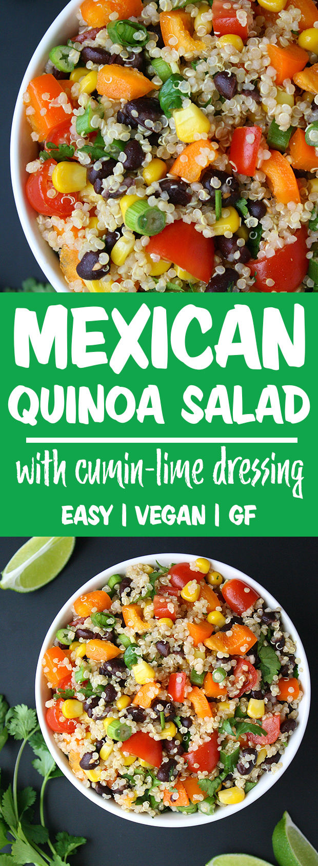bowls of Mexican Quinoa Salad with cumin dressing