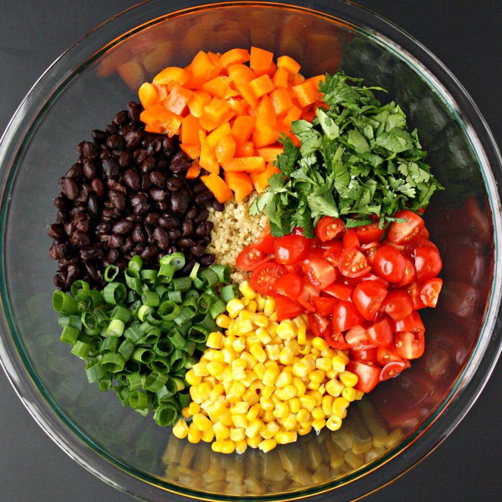 Bowl of ingredients for Mexican Quinoa Salad