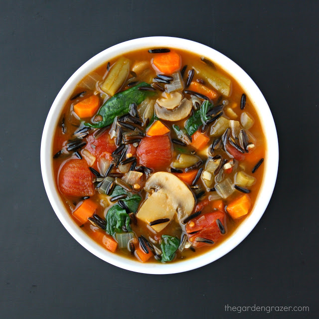Wild Rice Soup with vegetables in a bowl