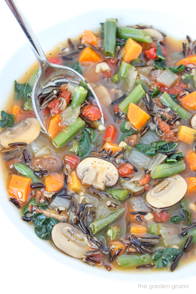 Vegan wild rice soup with vegetables