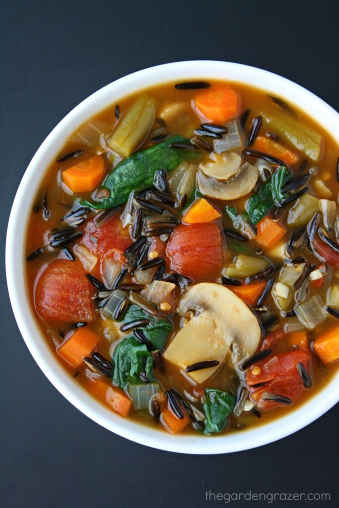 Vegan Wild Rice Vegetable Soup in a bowl