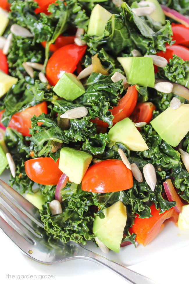 Marinated kale salad with avocado and tomato on a plate