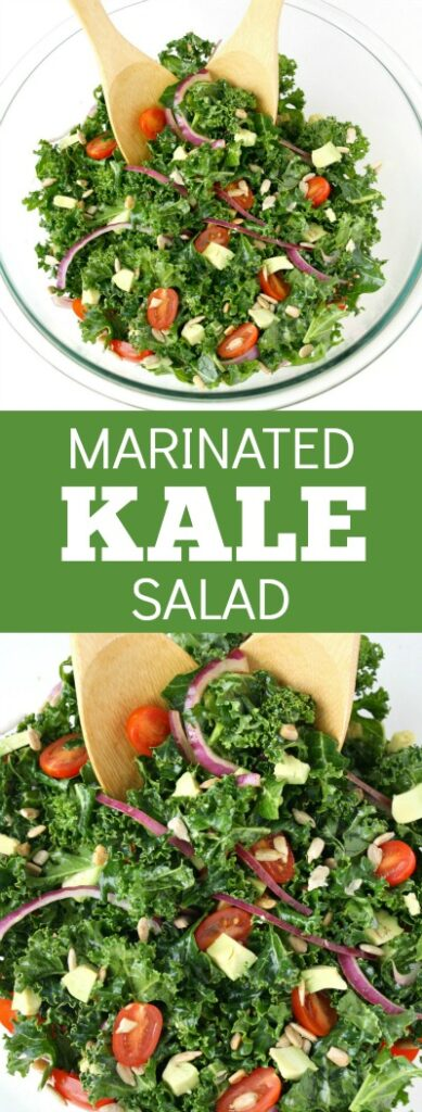 photo collage of marinated kale salad