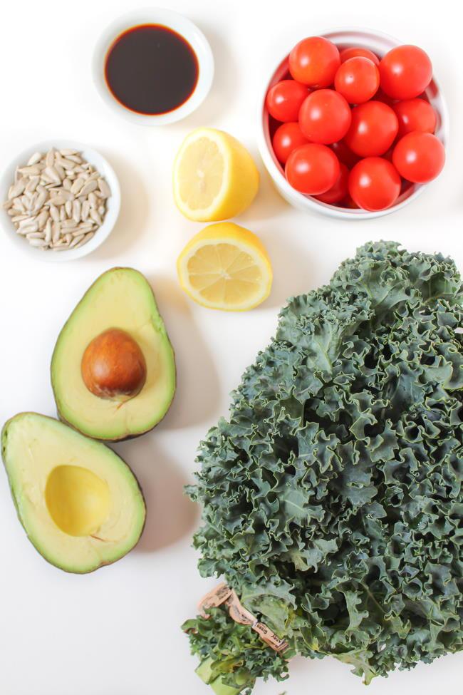 Ingredients for marinated kale salad