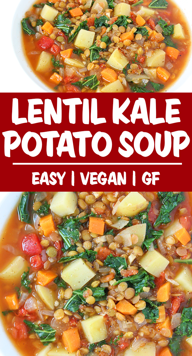 Lentil kale potato soup photo collage