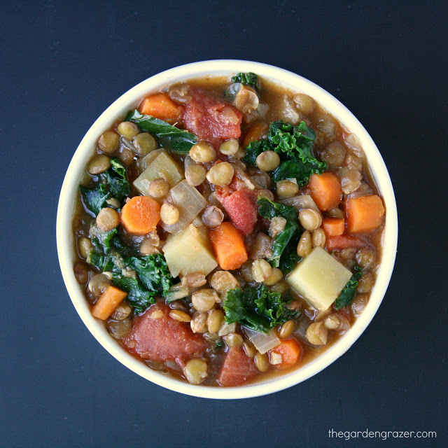 Vegan lentil kale potato soup in a bowl