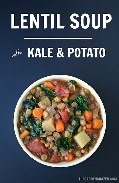 Vegan lentil soup with kale and potato