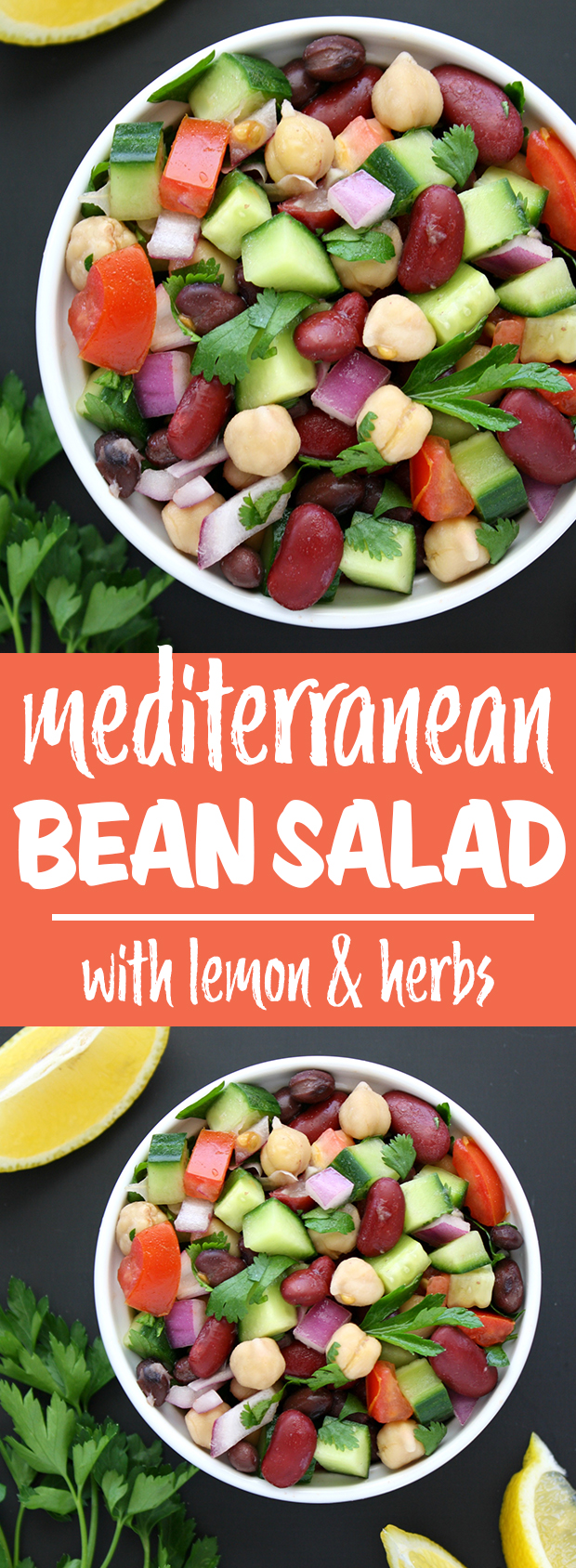 Photo collage of vegan mediterranean bean salad