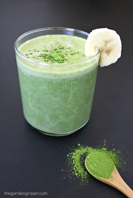 Small glass of banana matcha smoothie