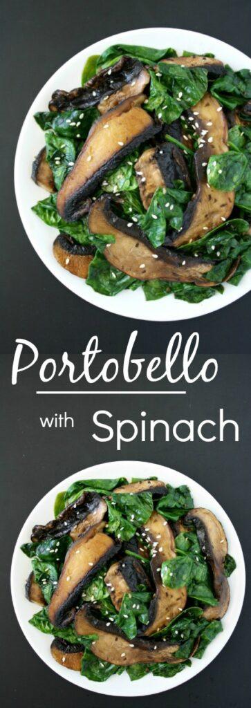 Portobello mushroom with spinach photo collage