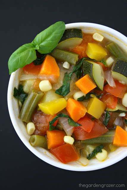 Vegan garden vegetable soup in a bowl with fresh basil