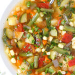 Bowl of vegan garden vegetable soup with fresh herbs
