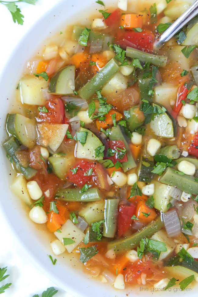 Garden vegetable soup in a bowl with spoon and fresh herbs