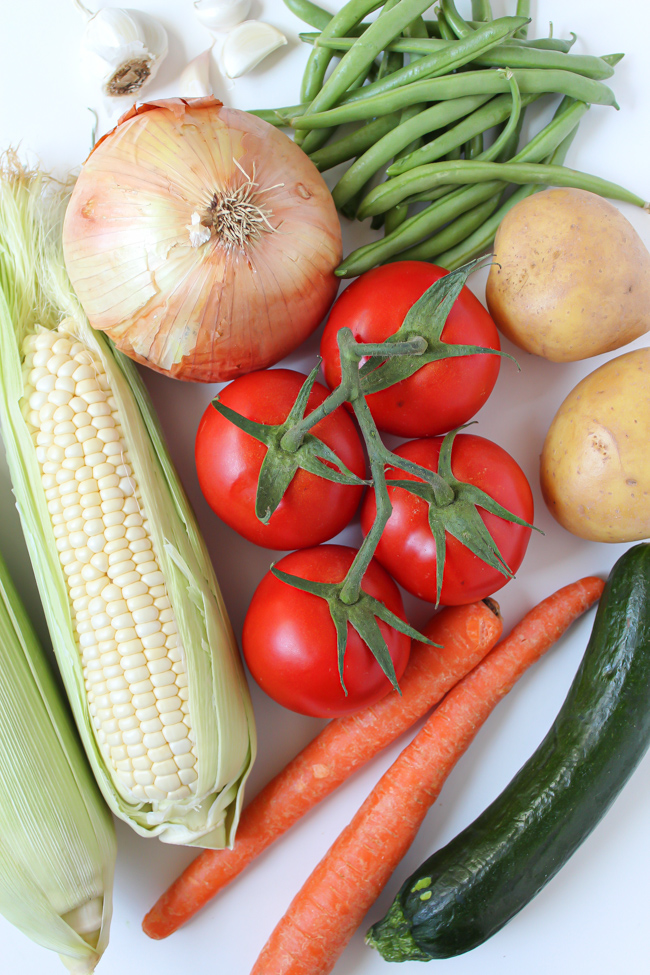 Fresh summer garden vegetables for soup