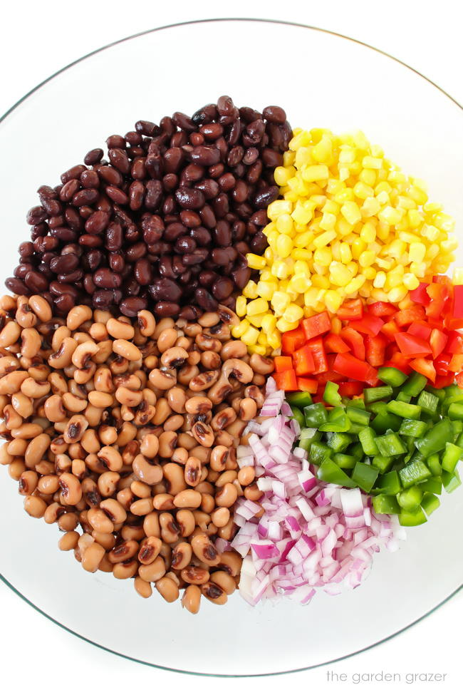 Ingredients in a bowl for cowboy caviar