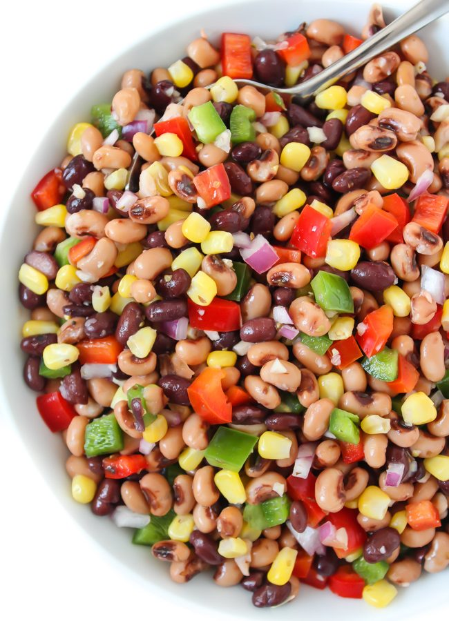 Healthy vegan Texas Caviar in a bowl with spoon