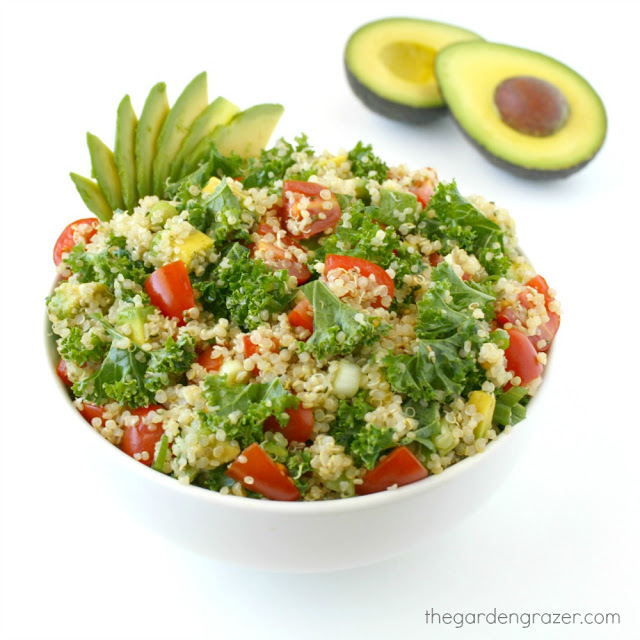 Bowl of Vegan Quinoa Kale Salad with tomatoes