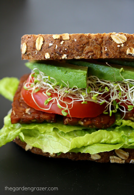 Side view of the vegan blt sandwich