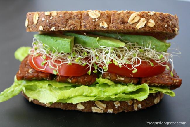 Vegan BLT sandwich with tempeh bacon, lettuce, tomato