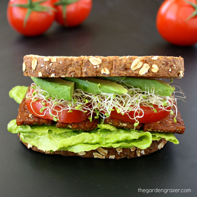 Vegan tempeh sandwich with avocado, lettuce, tomato