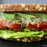 Vegan BLT sandwich with tempeh bacon, lettuce, tomato