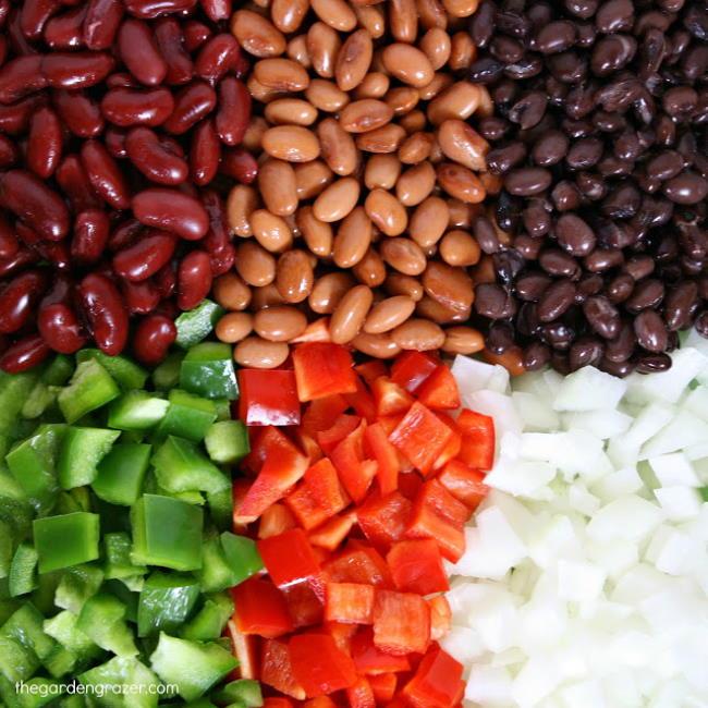 Ingredient preparation for fiesta three bean chili