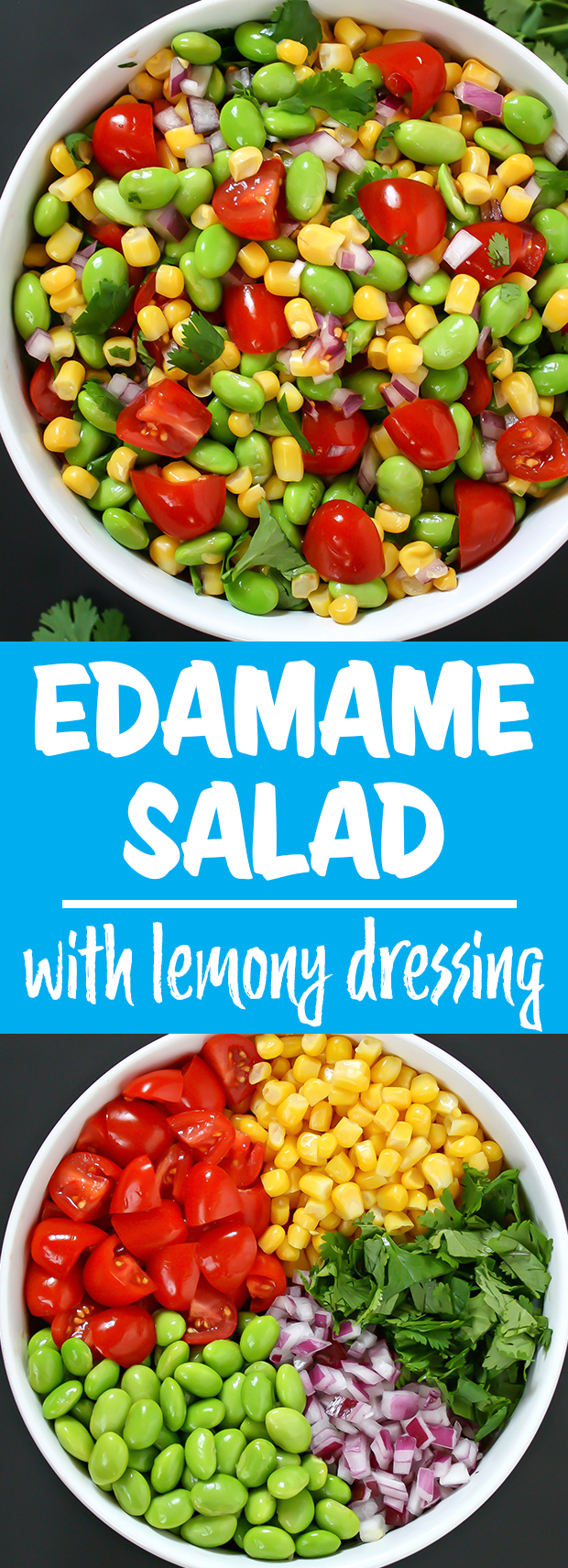 photo collage of edamame corn salad
