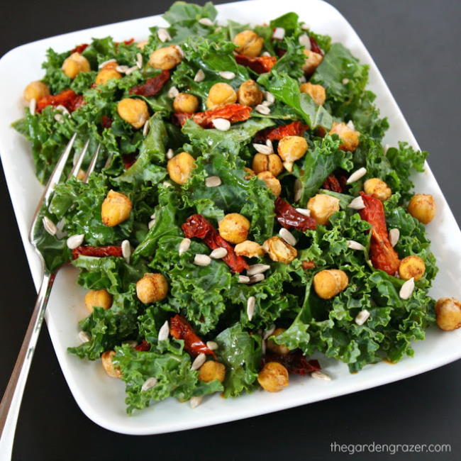 Kale Chickpea Salad with sun-dried tomatoes on a plate