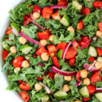 Vegan Kale Greek Salad with garbanzo beans in a bowl