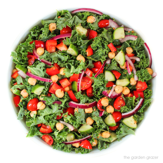 Vegan Greek Salad with kale, tomato, onion, cucumber