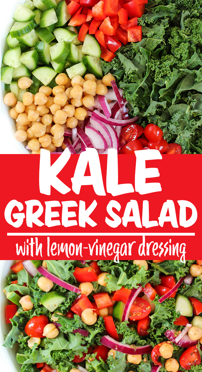 Kale Greek Salad preparation and tossed salad