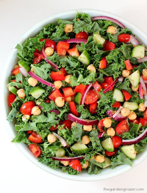 Kale Greek Salad with garbanzos in a bowl