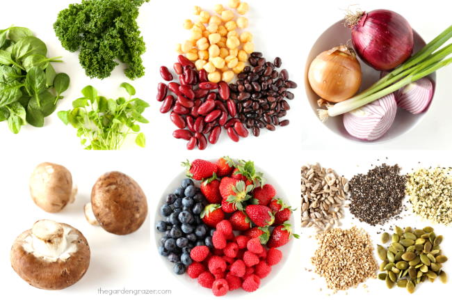An array of Dr. Fuhrman's GBOMBS (greens, beans, onions, mushrooms, berries, seeds)