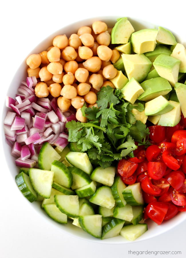 Ingredients in a bowl for avocado tomato salad