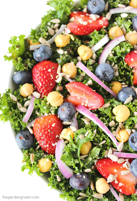 Bowl of kale power salad with berries, onions, and chia seed dressing
