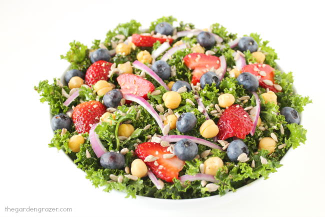 Bowl of kale salad with strawberries, blueberries, onions, and seeds