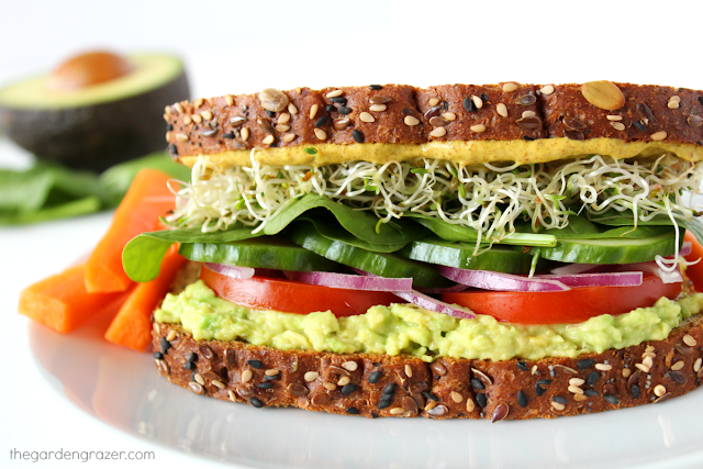 Avocado Veggie Sandwich Quick Easy The Garden Grazer