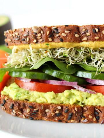 Vegan avocado sandwich