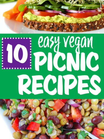 Vegan picnic recipes photo collage
