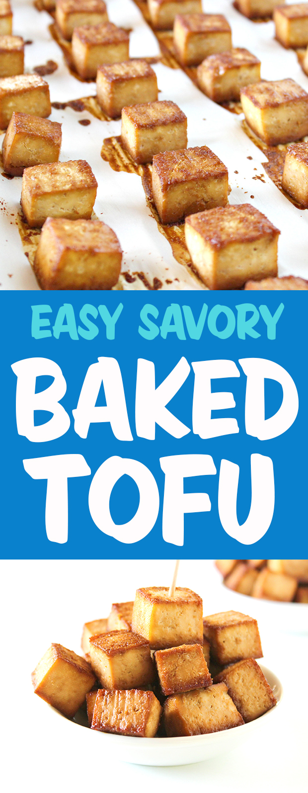 photo collage of easy baked savory tofu