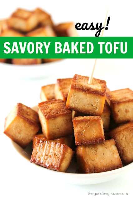 Easy vegan baked tofu in a bowl with toothpick