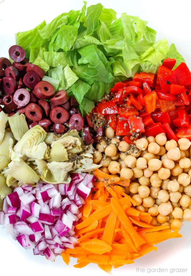 ingredients in a bowl for Italian Chopped Salad